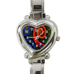 Simple Batik Patterns Heart Italian Charm Watch