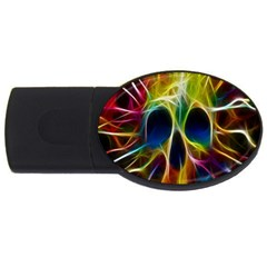 Skulls Multicolor Fractalius Colors Colorful Usb Flash Drive Oval (4 Gb) by Sapixe