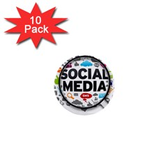 Social Media Computer Internet Typography Text Poster 1  Mini Buttons (10 Pack)