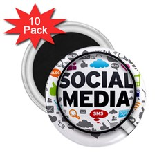 Social Media Computer Internet Typography Text Poster 2 25  Magnets (10 Pack)  by Sapixe