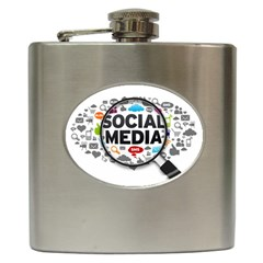 Social Media Computer Internet Typography Text Poster Hip Flask (6 Oz) by Sapixe