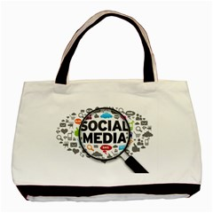 Social Media Computer Internet Typography Text Poster Basic Tote Bag by Sapixe