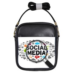 Social Media Computer Internet Typography Text Poster Girls Sling Bags by Sapixe
