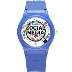 Social Media Computer Internet Typography Text Poster Round Plastic Sport Watch (s) by Sapixe