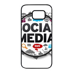 Social Media Computer Internet Typography Text Poster Samsung Galaxy S7 Edge Black Seamless Case by Sapixe