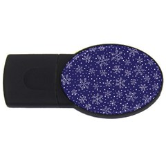 Snowflakes Pattern Usb Flash Drive Oval (2 Gb) by Sapixe