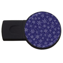 Snowflakes Pattern Usb Flash Drive Round (4 Gb) by Sapixe