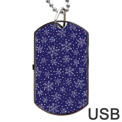 Snowflakes Pattern Dog Tag Usb Flash (two Sides) by Sapixe
