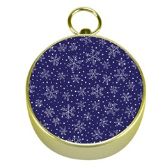 Snowflakes Pattern Gold Compasses by Sapixe