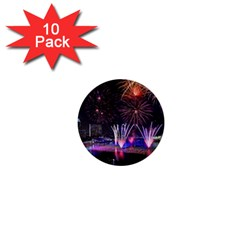 Singapore The Happy New Year Hotel Celebration Laser Light Fireworks Marina Bay 1  Mini Buttons (10 Pack)