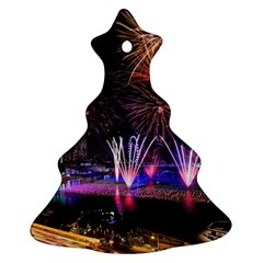 Singapore The Happy New Year Hotel Celebration Laser Light Fireworks Marina Bay Christmas Tree Ornament (two Sides) by Sapixe