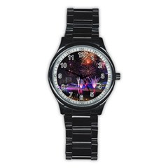 Singapore The Happy New Year Hotel Celebration Laser Light Fireworks Marina Bay Stainless Steel Round Watch