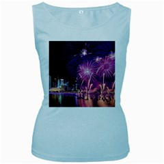 Singapore New Years Eve Holiday Fireworks City At Night Women s Baby Blue Tank Top