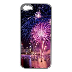 Singapore New Years Eve Holiday Fireworks City At Night Apple Iphone 5 Case (silver) by Sapixe