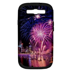Singapore New Years Eve Holiday Fireworks City At Night Samsung Galaxy S Iii Hardshell Case (pc+silicone)