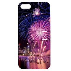 Singapore New Years Eve Holiday Fireworks City At Night Apple Iphone 5 Hardshell Case With Stand by Sapixe