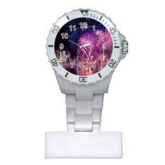 Singapore New Years Eve Holiday Fireworks City At Night Plastic Nurses Watch