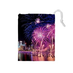 Singapore New Years Eve Holiday Fireworks City At Night Drawstring Pouches (medium)