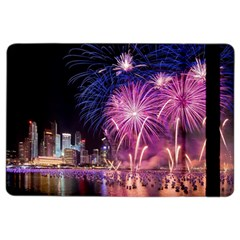 Singapore New Years Eve Holiday Fireworks City At Night Ipad Air 2 Flip by Sapixe