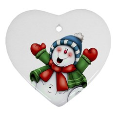 Snowman With Scarf Ornament (heart) by Sapixe