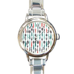 Spoon Fork Knife Pattern Round Italian Charm Watch