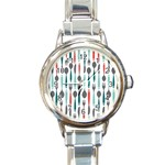 Spoon Fork Knife Pattern Round Italian Charm Watch Front