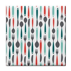 Spoon Fork Knife Pattern Tile Coasters by Sapixe