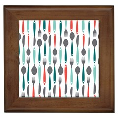 Spoon Fork Knife Pattern Framed Tiles by Sapixe
