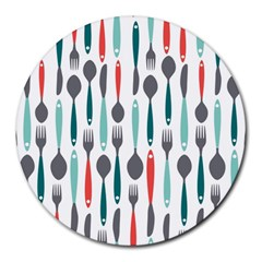 Spoon Fork Knife Pattern Round Mousepads by Sapixe