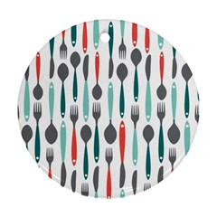 Spoon Fork Knife Pattern Ornament (round) by Sapixe