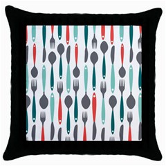 Spoon Fork Knife Pattern Throw Pillow Case (black) by Sapixe