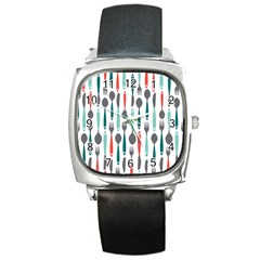 Spoon Fork Knife Pattern Square Metal Watch by Sapixe