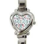 Spoon Fork Knife Pattern Heart Italian Charm Watch Front