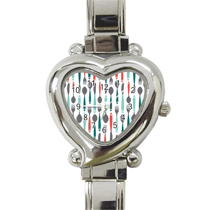 Spoon Fork Knife Pattern Heart Italian Charm Watch