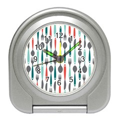 Spoon Fork Knife Pattern Travel Alarm Clocks by Sapixe