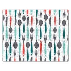 Spoon Fork Knife Pattern Rectangular Jigsaw Puzzl by Sapixe