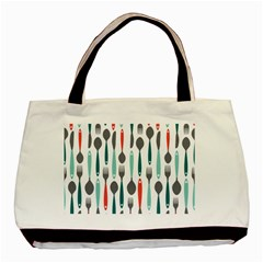 Spoon Fork Knife Pattern Basic Tote Bag by Sapixe