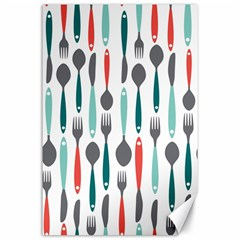 Spoon Fork Knife Pattern Canvas 24  X 36  by Sapixe