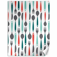 Spoon Fork Knife Pattern Canvas 36  X 48   by Sapixe