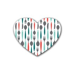 Spoon Fork Knife Pattern Heart Coaster (4 Pack)  by Sapixe
