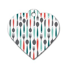 Spoon Fork Knife Pattern Dog Tag Heart (two Sides) by Sapixe