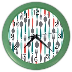 Spoon Fork Knife Pattern Color Wall Clocks by Sapixe