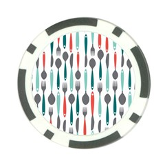 Spoon Fork Knife Pattern Poker Chip Card Guard by Sapixe