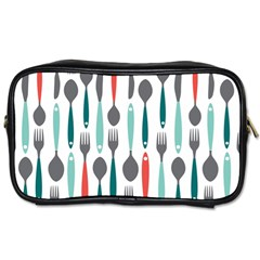 Spoon Fork Knife Pattern Toiletries Bags 2 Side by Sapixe