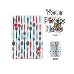 Spoon Fork Knife Pattern Playing Cards 54 (Mini)  Front - Heart9