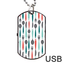 Spoon Fork Knife Pattern Dog Tag Usb Flash (two Sides) by Sapixe