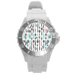 Spoon Fork Knife Pattern Round Plastic Sport Watch (l) by Sapixe