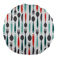 Spoon Fork Knife Pattern Large 18  Premium Round Cushions by Sapixe
