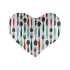 Spoon Fork Knife Pattern Standard 16  Premium Heart Shape Cushions by Sapixe