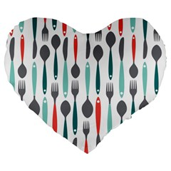 Spoon Fork Knife Pattern Large 19  Premium Heart Shape Cushions by Sapixe